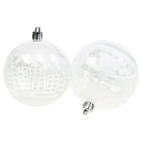 Christmas ball plastic white, clear Ø8cm 2pcs