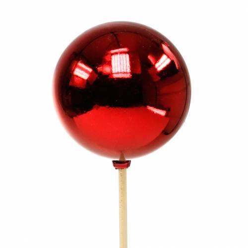 Christmas ball on a stick Ø6cm red 18pcs