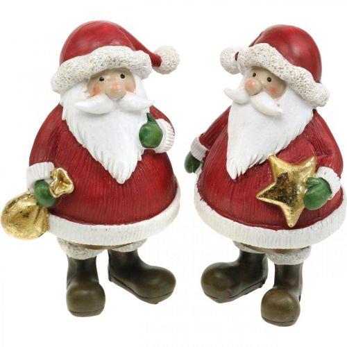 Decorative figure Santa Claus with star / bag H13cm 2pcs