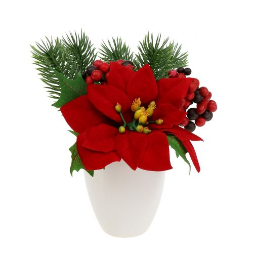 Poinsettia in pot red artificially H11cm