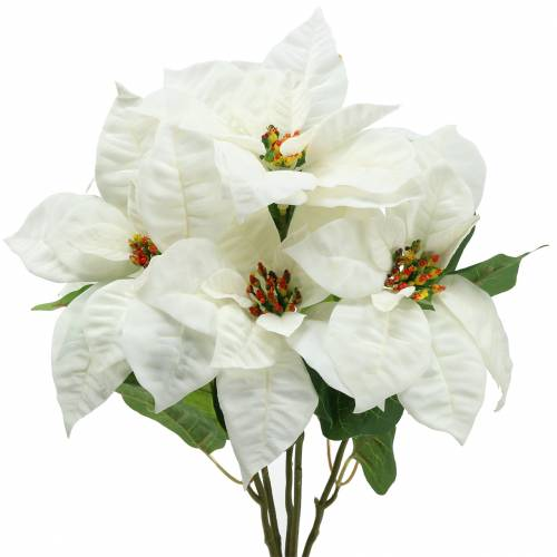 Poinsettia Bouquet White 52cm