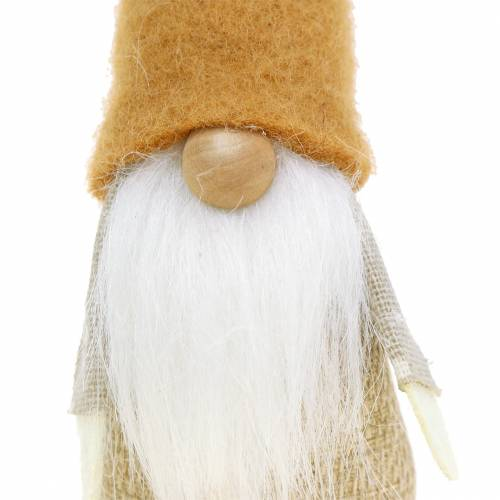 Gnome with Beard Brown, White, Nature 16cm 2pcs