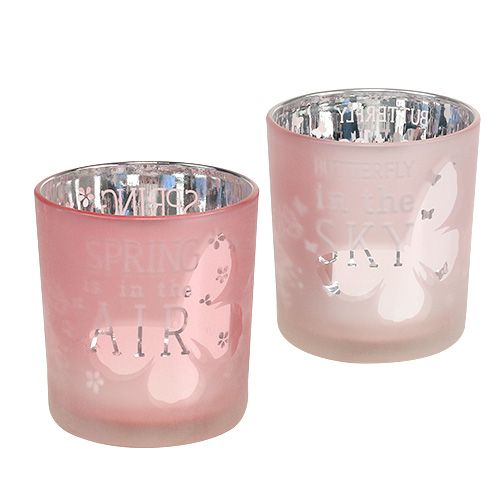 Windlight Glass Pink Ø7,5cm H8cm 4pcs