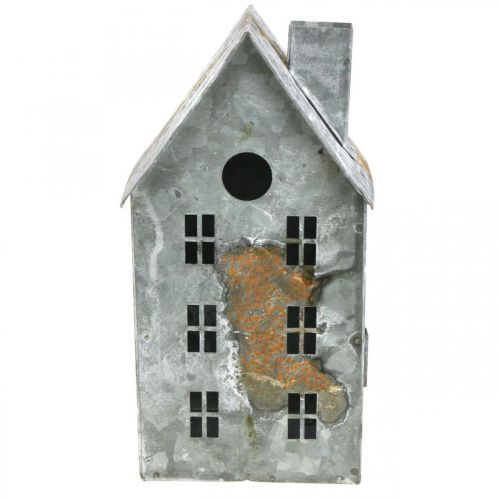 Lantern house metal shabby chic white washed, rust H20cm