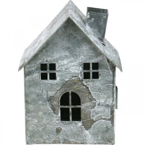 Lantern house metal, shabby chic, Christmas decoration, white washed, antique look H14.5cm