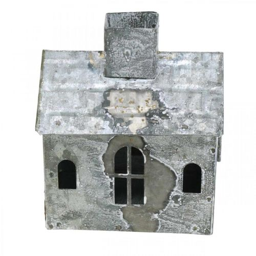 Lantern house metal shabby chic white washed, rust H11cm
