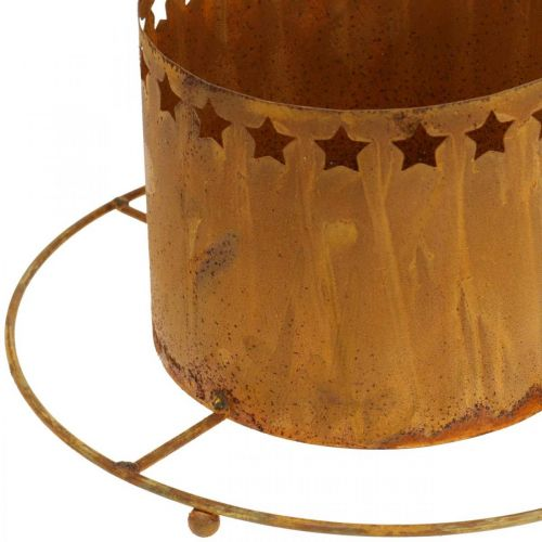 Lantern with stars, Advent, wreath holder made of metal, Christmas decoration stainless steel Ø25cm