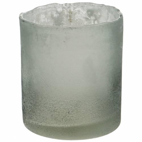 Glass lantern gray frosted Ø8.5cm H9.5cm
