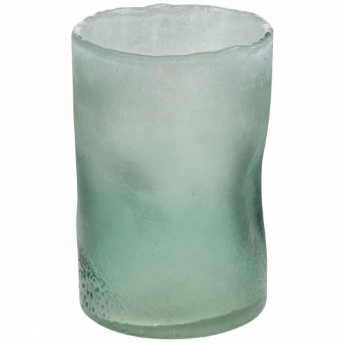 Glass lantern green frosted Ø10cm H15cm