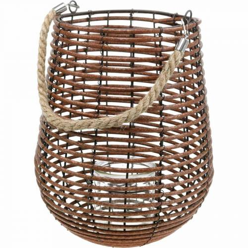 Candle in a basket, lantern with handle, candle decoration, basket lantern Ø24cm H34cm