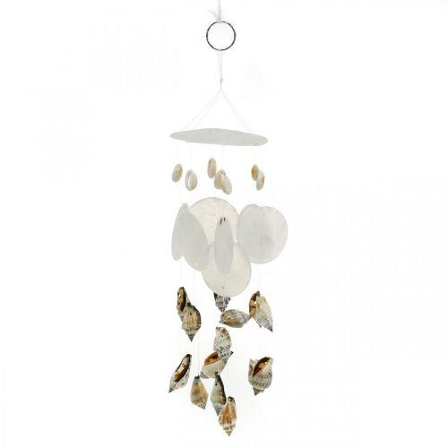 Wind chimes with capiz shells, maritime decoration, decoration hanger snail shells L35 Ø8cm