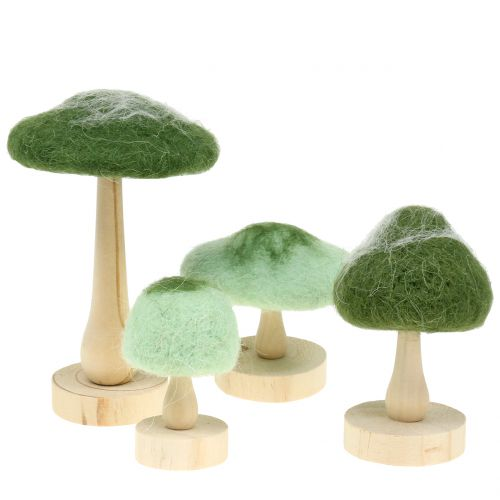 Deco felt wood / felt green 8cm - 15cm 4pcs