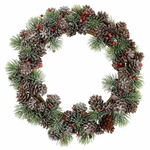 Cone wreath snowed Ø23cm