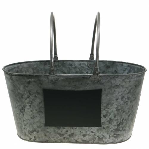 Planter zinc tub with handles oval gray H20cm