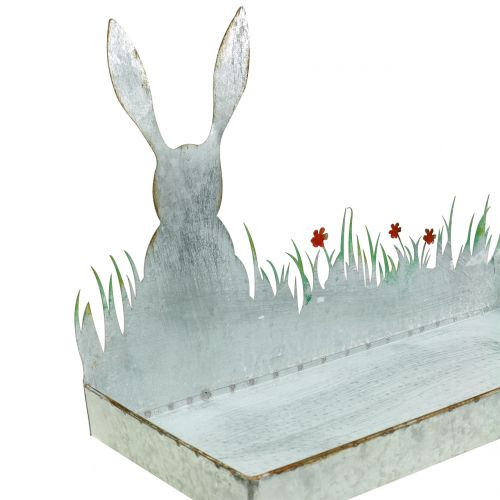 Zinc Tray Spring Meadow with Easter Bunny 35cmx16cm H24cm