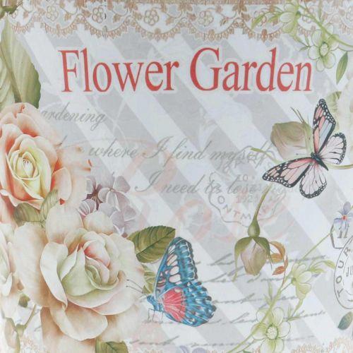 Flower pot metal roses summer decoration planter Ø13.5cm H11.5cm