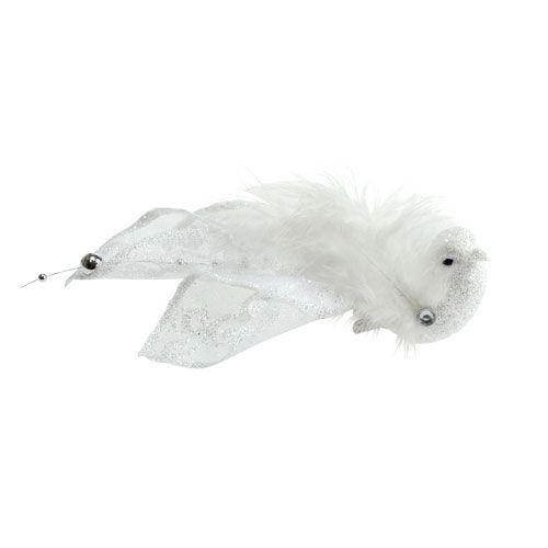 Deco bird on the clip with glitter white 14cm 2pcs