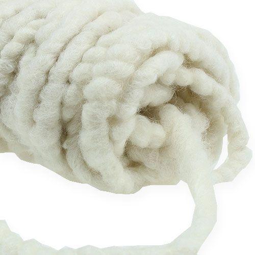Felt cord fleece Mirabell 25m white