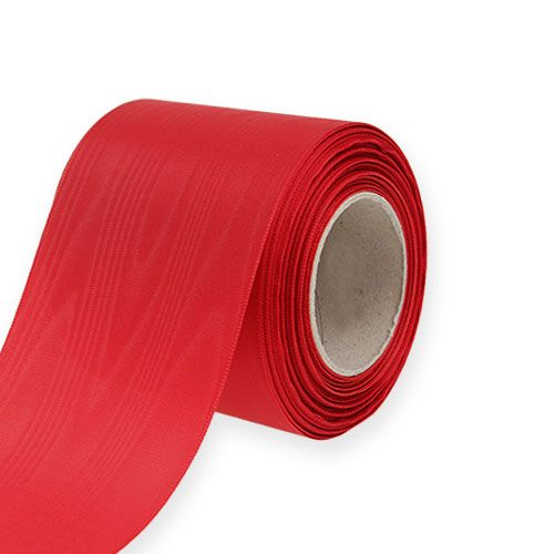 Wreath ribbon red 75mm 25m