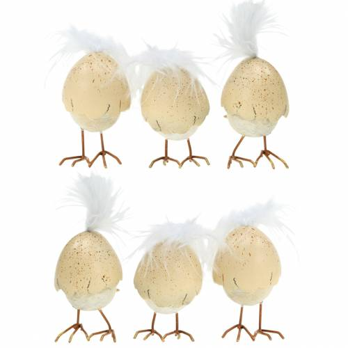 Chick in the eggshell white, cream 6cm 6pcs