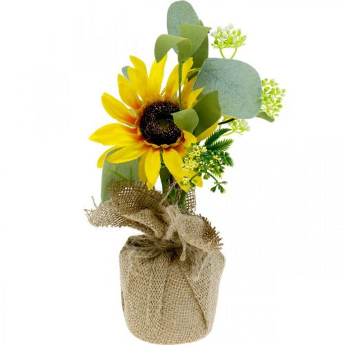Artificial sunflower, silk flower, summer decoration, sunflower in a jute sack