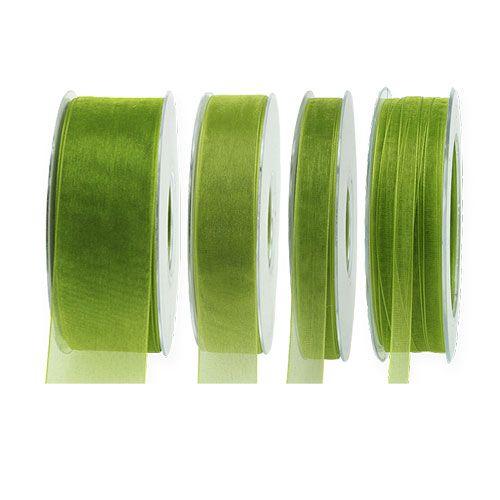 Organza ribbon moss green 50m