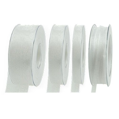 Organza ribbon with selvedge 50m white