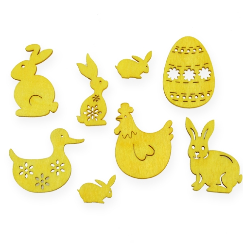 Wooden assortment with Easter motives 2cm - 4cm 108pcs