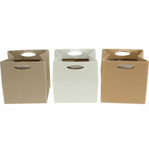 Paper bag 12cm brown, cream, beige planter gift bag 12pcs