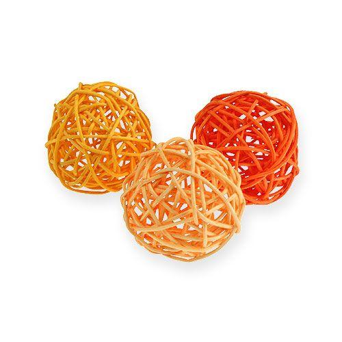 Rattan balls Ø4,5cm orange assorted 30pcs