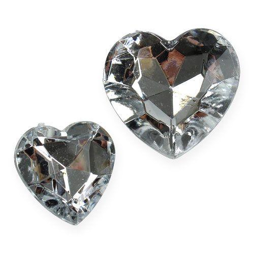 Decoration to control acrylic hearts silver 2cm - 3cm 120pcs