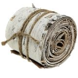 Birch bark roll washed white 10cm x 2.5m