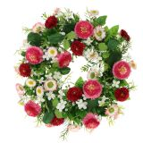 Flower wreath with Bellis Pink-White Ø30cm