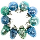 Mini tree decoration mix autumn fruits and balls blue / green, silver Real glass 3.4–4.4cm 10pcs