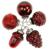 Mini tree decoration mix autumn fruits and balls red, silver real glass 3.4–4.4cm 10pcs