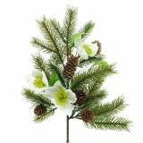 Artificial fir branch with Christmas roses and cones L36cm