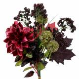 Artificial bouquet with dahlia and berries purple 45cm