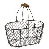 Wire basket oval with handle 27x16.5cm H13.5cm brown