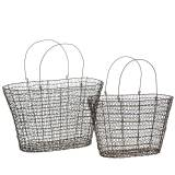 Wire basket handle bag 34.5cm H22cm / 29cm H18.5cm set of 2