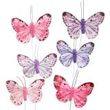 Feather butterfly metal wire pink, purple 7cm 12 pcs