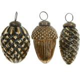 Acorns and cones to hang brown, golden glass 8.5cm 3pcs in a set