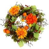 Autumn wreath Ø30cm with chrysan themes orange