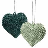 Glitter heart set to hang emerald, ice blue 6cm x 6.5cm 12pcs