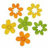 Wooden flowers litter decoration 2cm colorful assorted. 144St