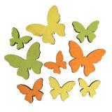 Wooden Butterfly 2,5-4cm Orange, Green, Yellow 36pcs