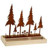 Wooden Tray Forest Silhouette Patina 30cm x 15cm