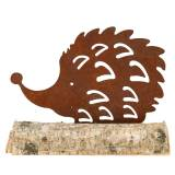 Hedgehog Patina on wooden foot 26cm x 18cm