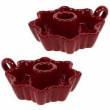 Candlestick Ceramic Red Ø12cm 2pcs