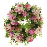 Floral wreath with hydrangeas and berries Pink Ø30cm