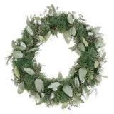 Decorative wreath eucalyptus and artificial cones Ø45cm green, white